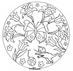 Fleur coloriages pour enfants - Mandala fleur ...