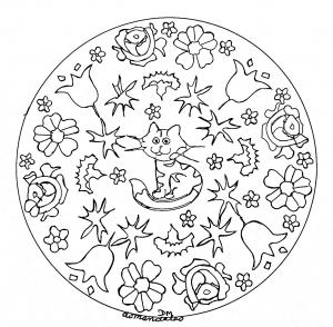 Mandala facile petit chat et fleurs
