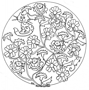 Mandala facile roses et chat