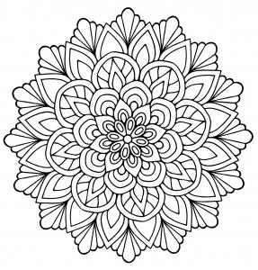 Mandala fleur avec feuilles