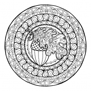 Mandala gland et feuille de chene par juliasnegireva