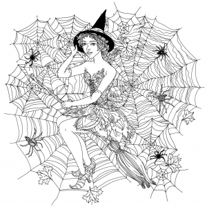 46314974   beautiful fashion woman as a witch with design with cobwebs, spiders and other decorations on halloween, could be used for coloring book. black and white in zentangle style.