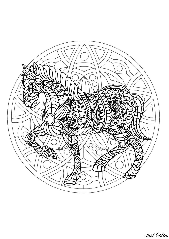 Superbe mandala plein de motifs créé avec un cheval très élégant