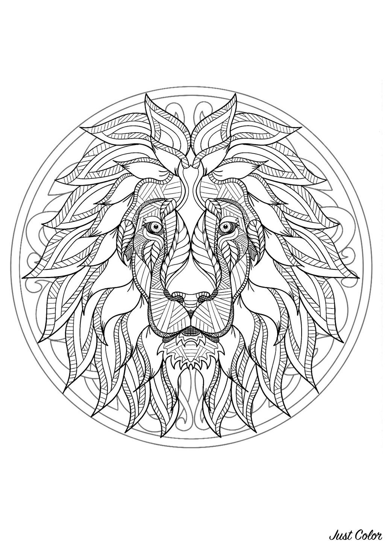 Mandala Gratuit Tete Lion Coloriage Mandalas Coloriages