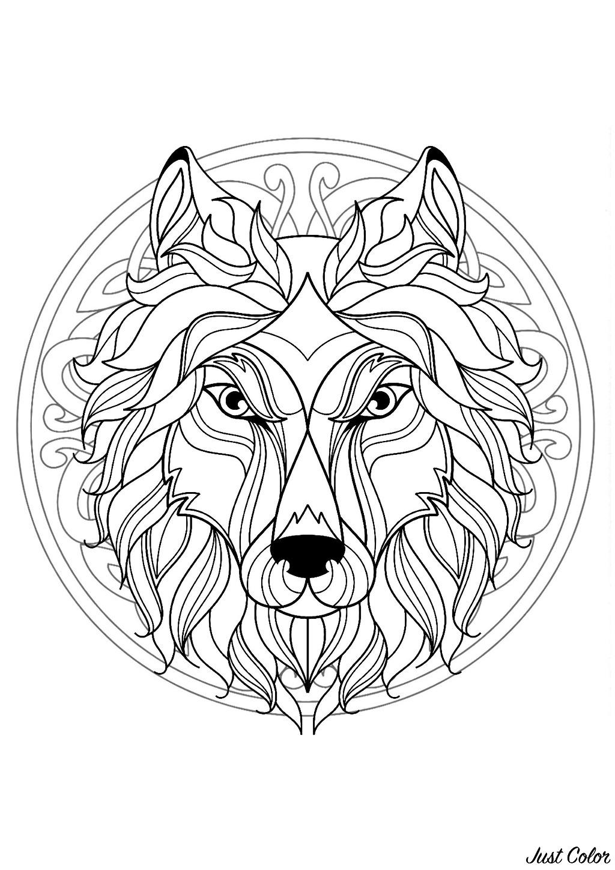 Superbe mandala plein de motifs créé avec une tête de loup