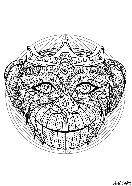 Superbe mandala plein de motifs créé avec une tête de singe - 2