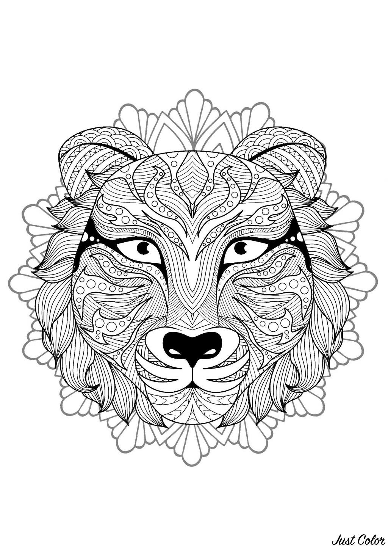 Mandala gratuit tete tigre 2 - Coloriage Mandalas - Coloriages pour enfants