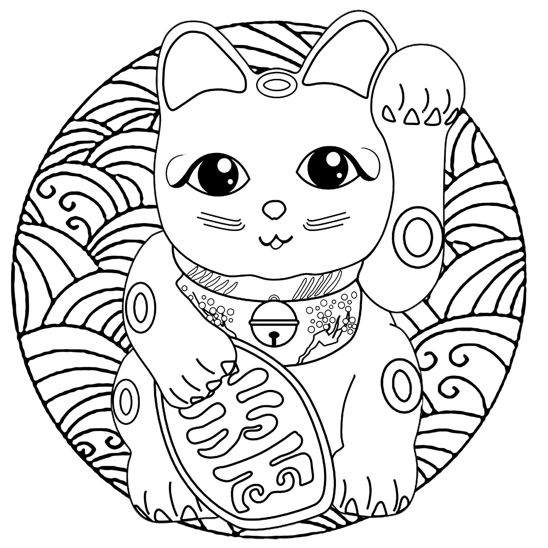 Mandala Maneki Neko Coloriage Maneki Neko Coloriages