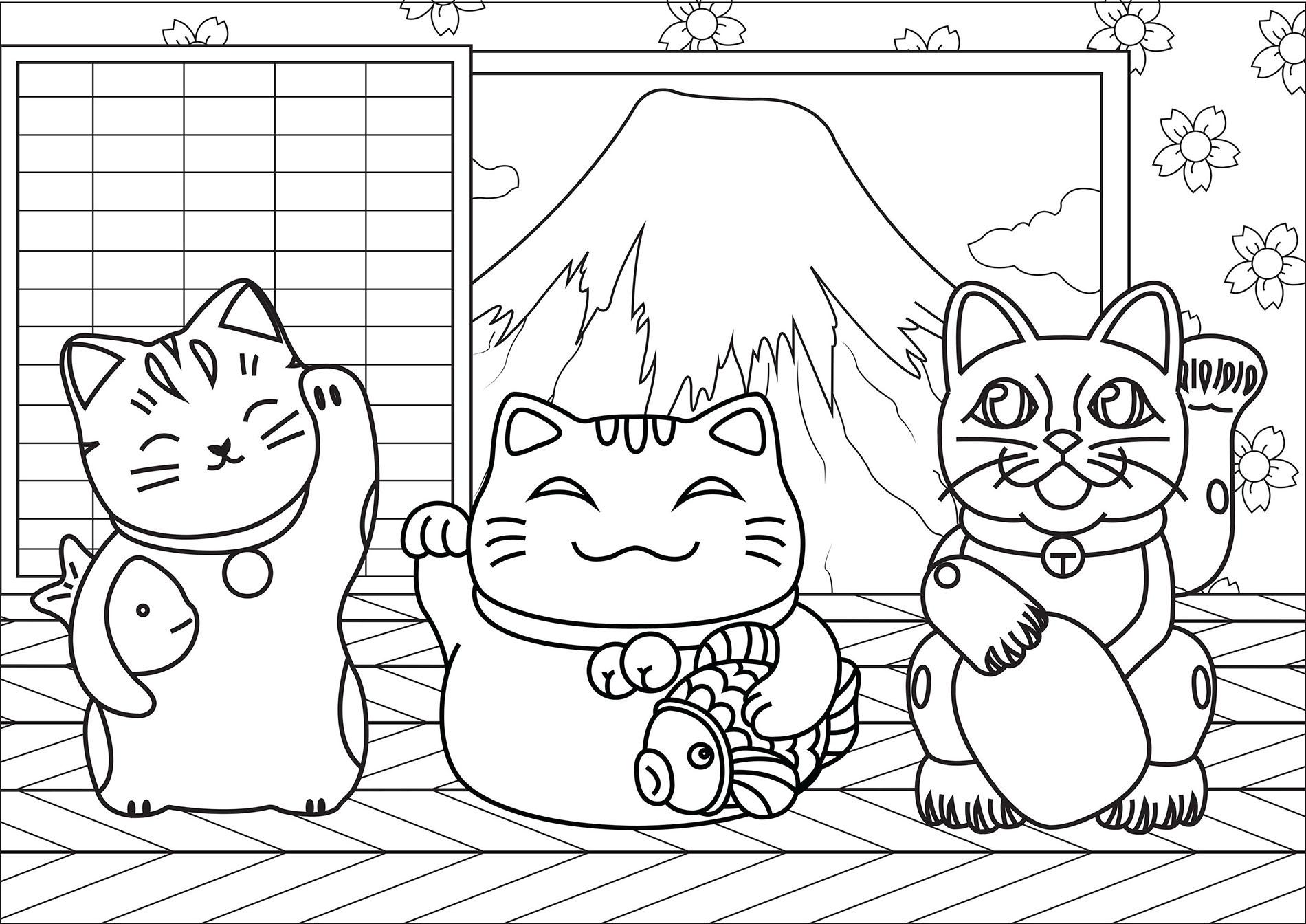 Coloriage Chat Porte Bonheur.3 Chats Maneki Neko Coloriage Maneki Neko Coloriages