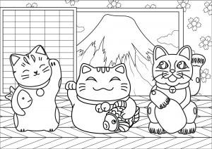 3 chats Maneki Neko