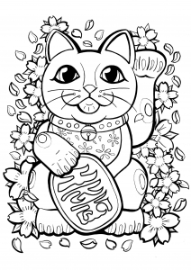 Maneki Neko à colorier