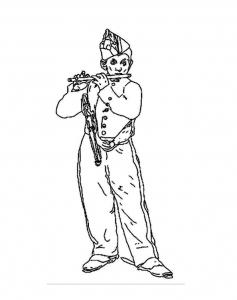 Coloriage manet joueur flute