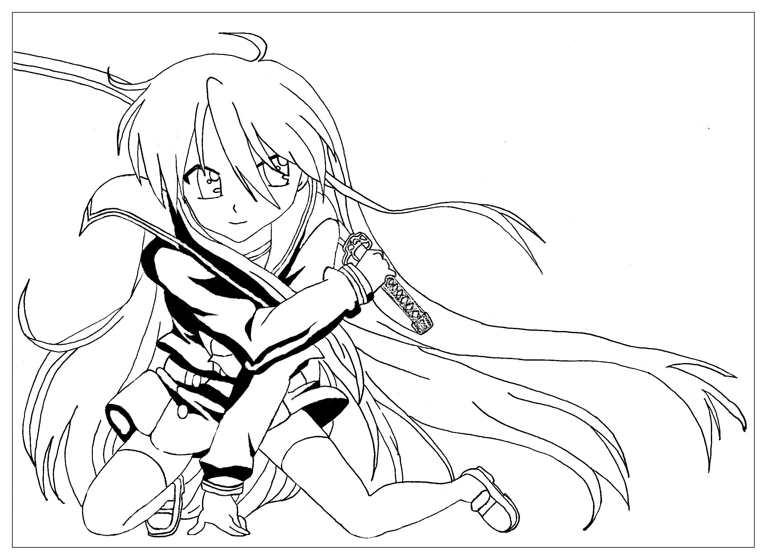 La fille au sabre Un coloriage style Manga par Krissy