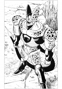 coloriage-cell-dragon-ball-z free to print