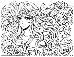 Coloriage fille manga fleurs dans ses cheveux par flyingpeachbun