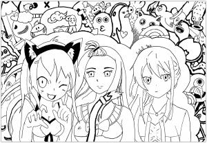 coloriage-manga-3-filles-par-rachel free to print