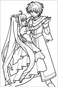 Coloriage manga danse en robe et costume