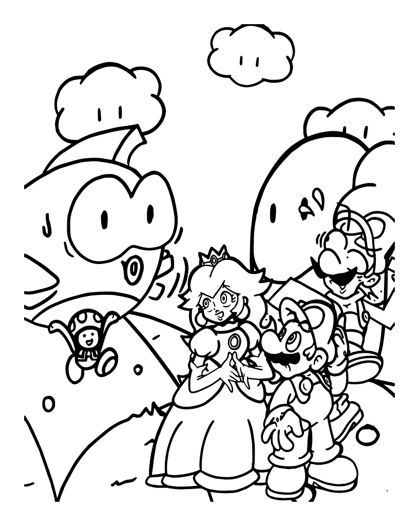 Mario bros 1 coloriage super mario coloriages pour enfants - Coloriage mario bross ...
