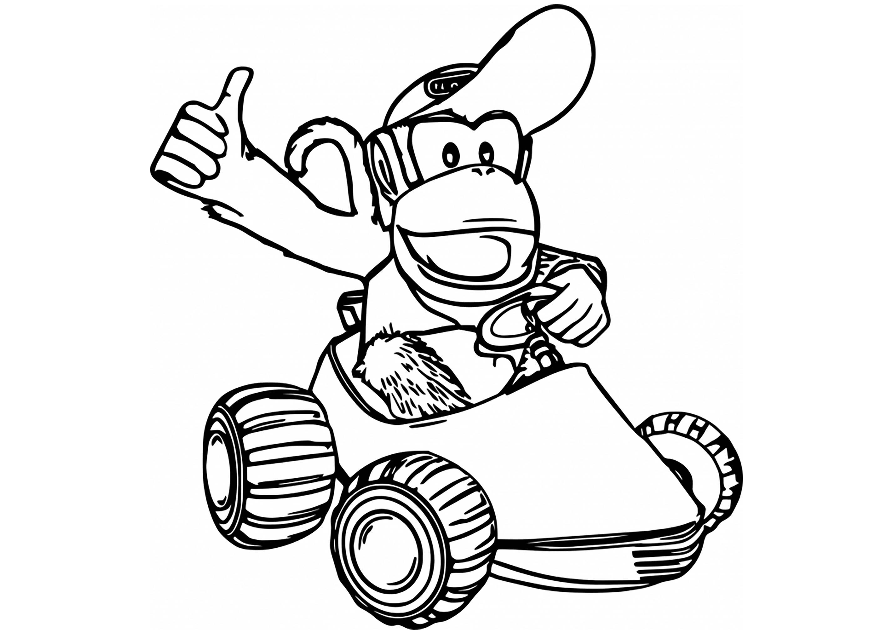 Mario Kart coloring page : Diddy Kong Kart