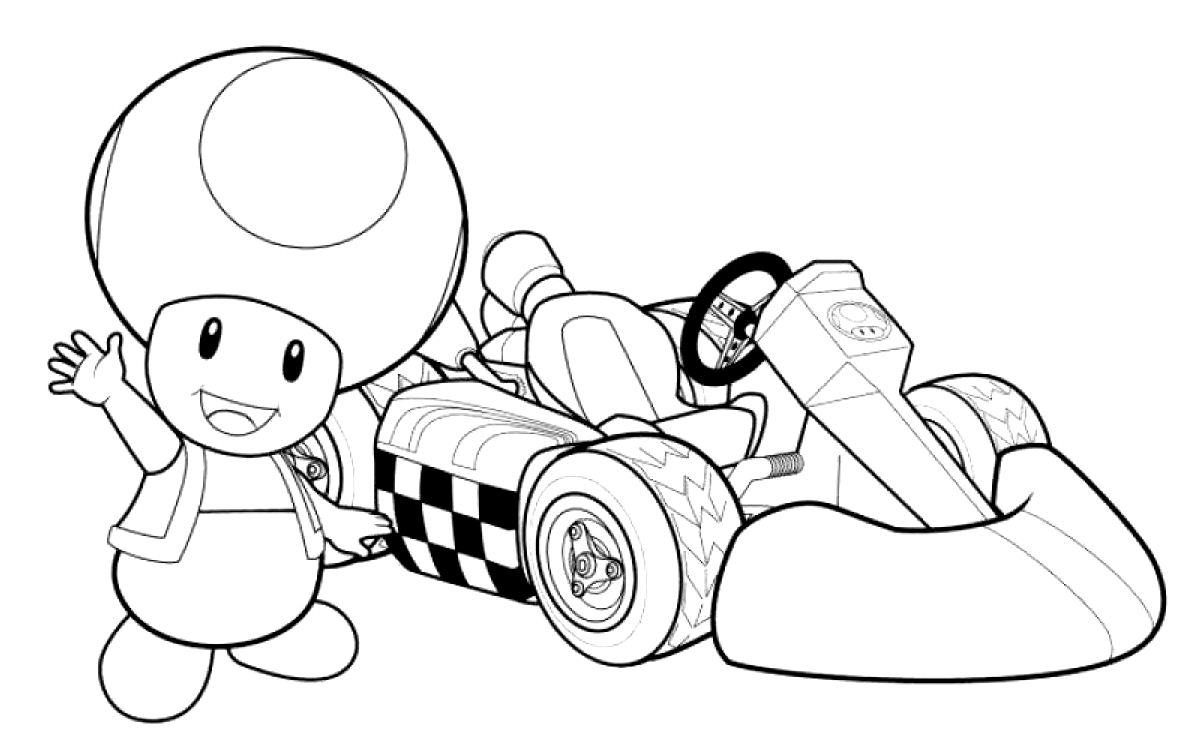 Mario kart toad coloriage mario kart coloriages pour - Dessiner toad ...