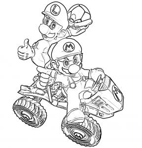 Coloriage de Mario Kart à colorier pour enfants