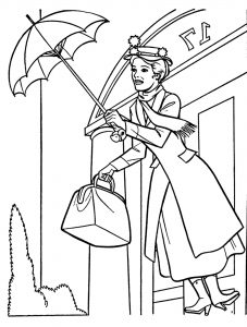 Coloriage simple de Mary Poppins
