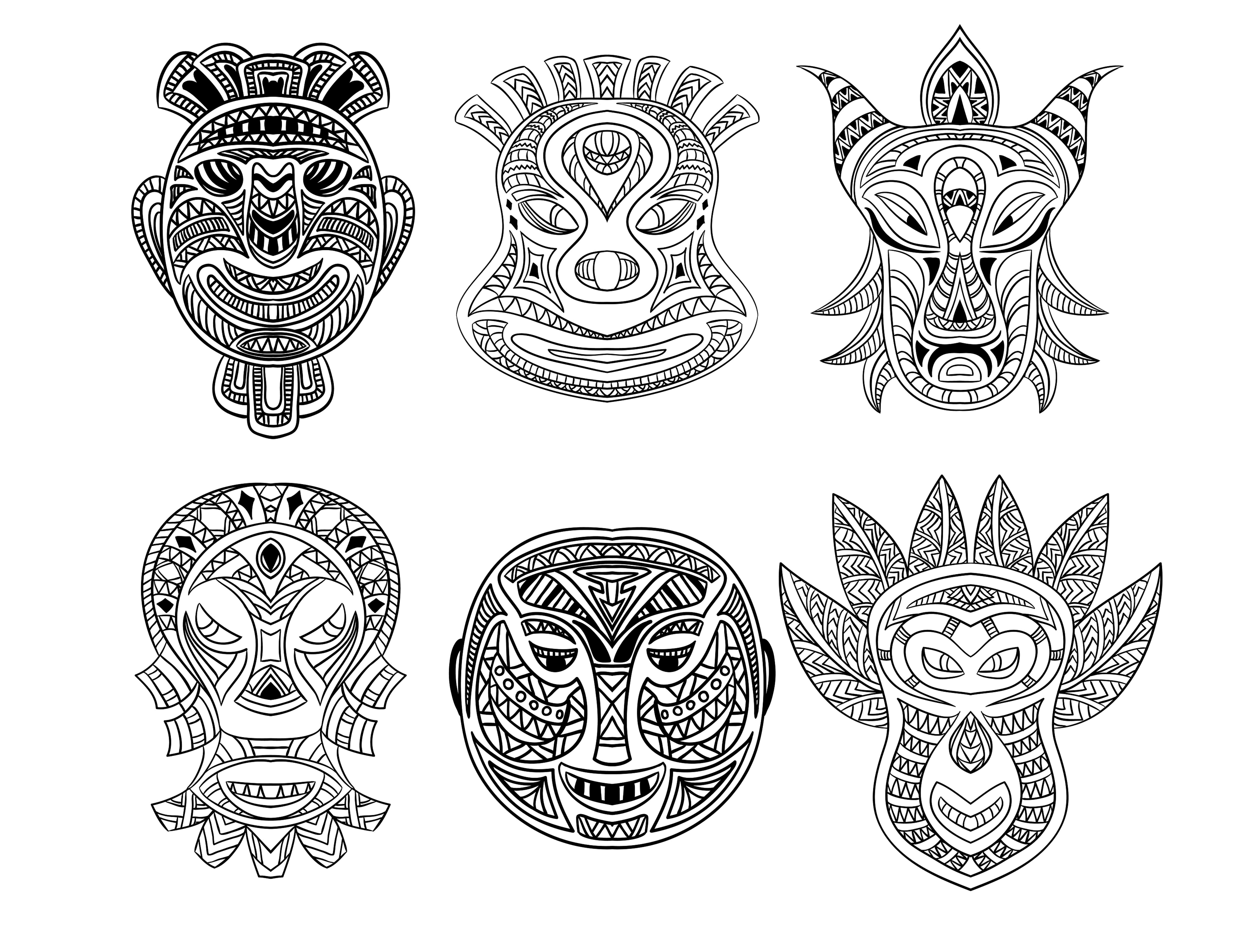 6 masques africains