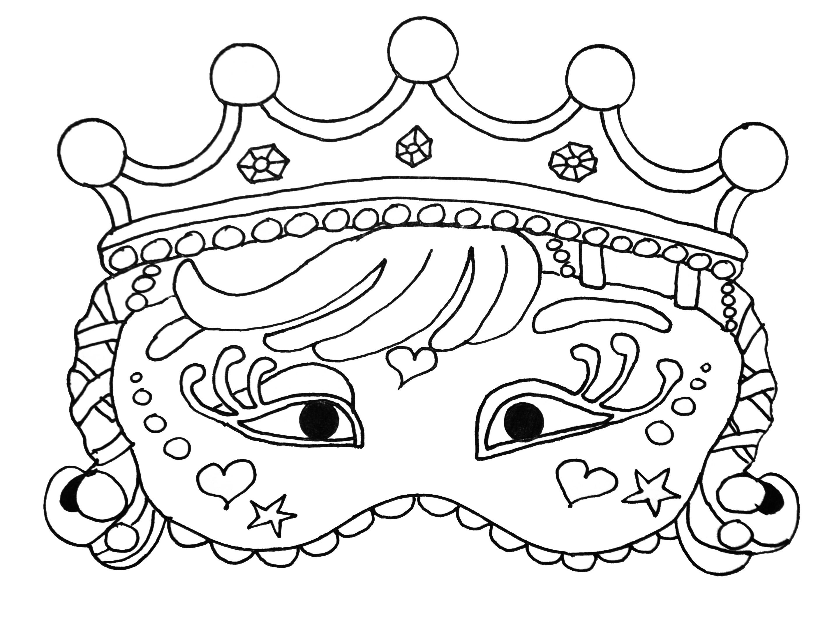Enfants masque carnaval 2 coloriage de masques - Dessin de masque de carnaval ...