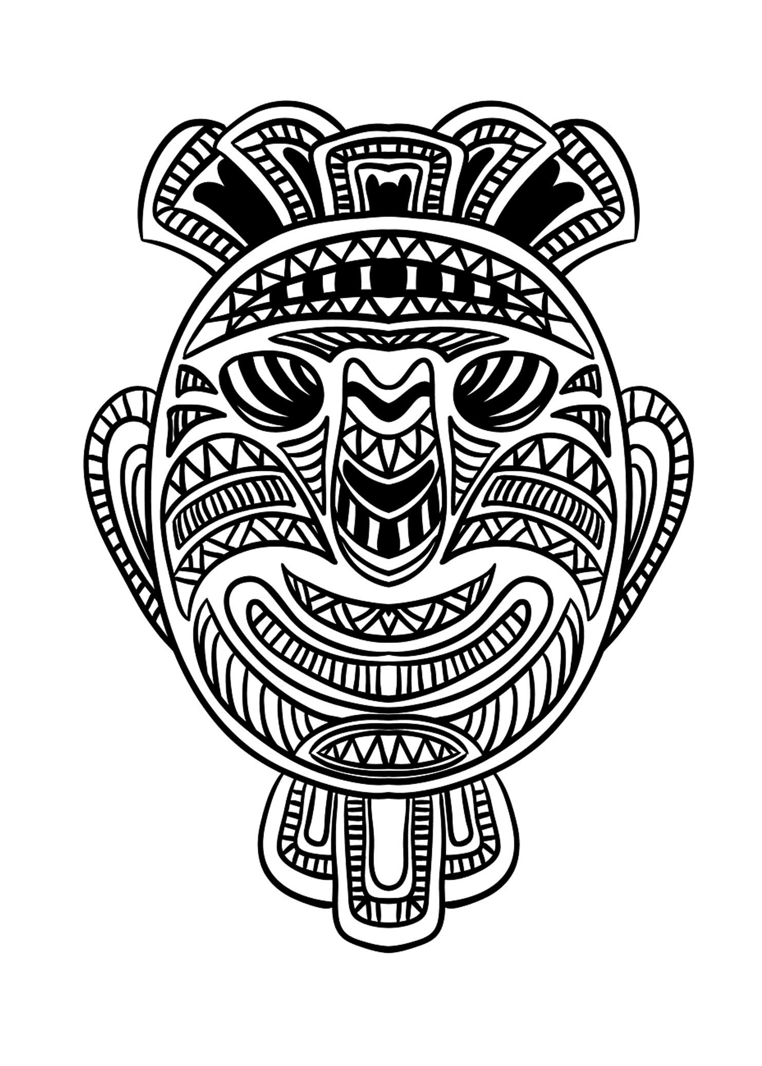 Masque africain 1 coloriage de masques coloriages pour enfants - Coloriage masques ...