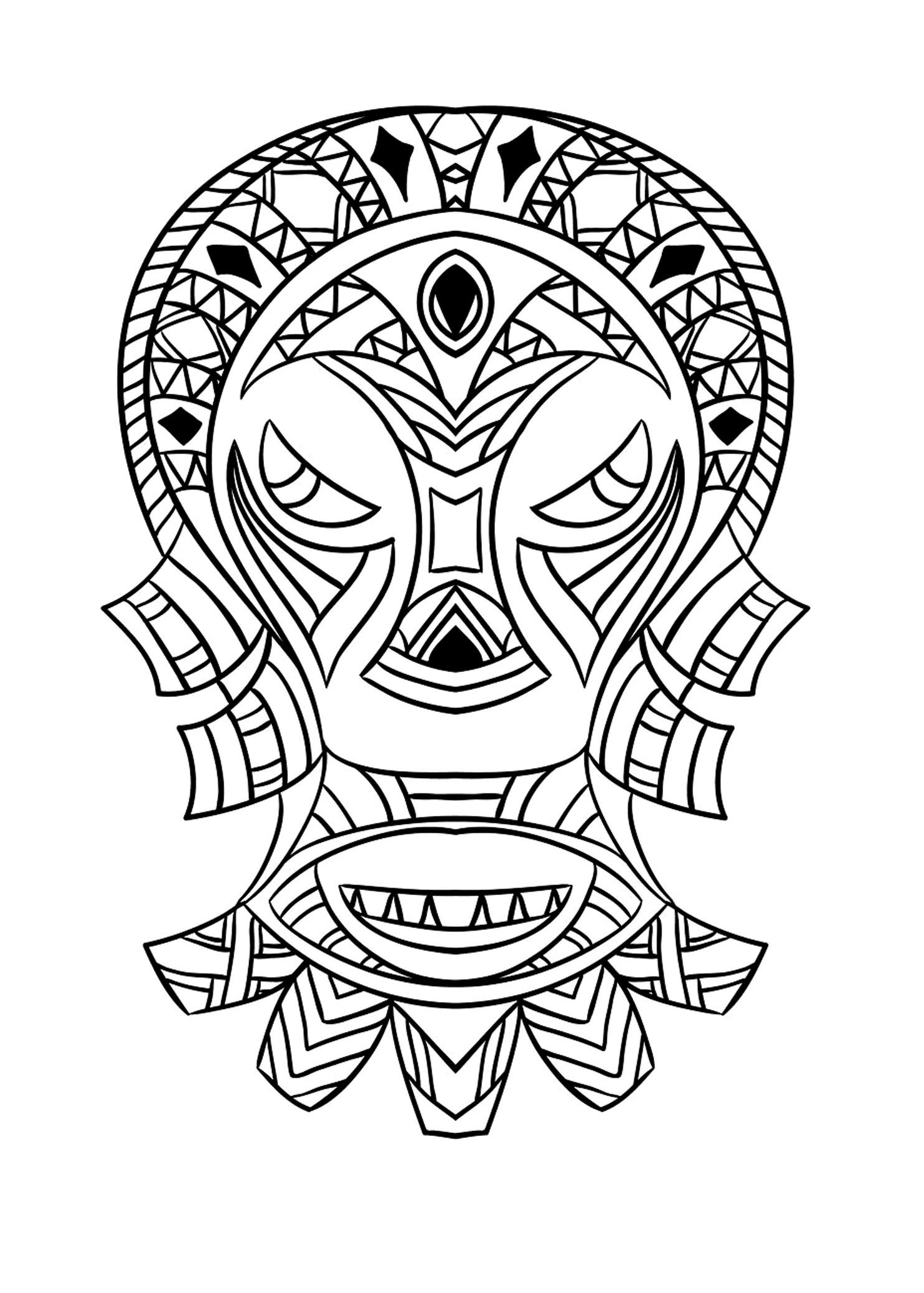 Turbo Masque africain 4 | Coloriage de Masques - Coloriages pour enfants BH36