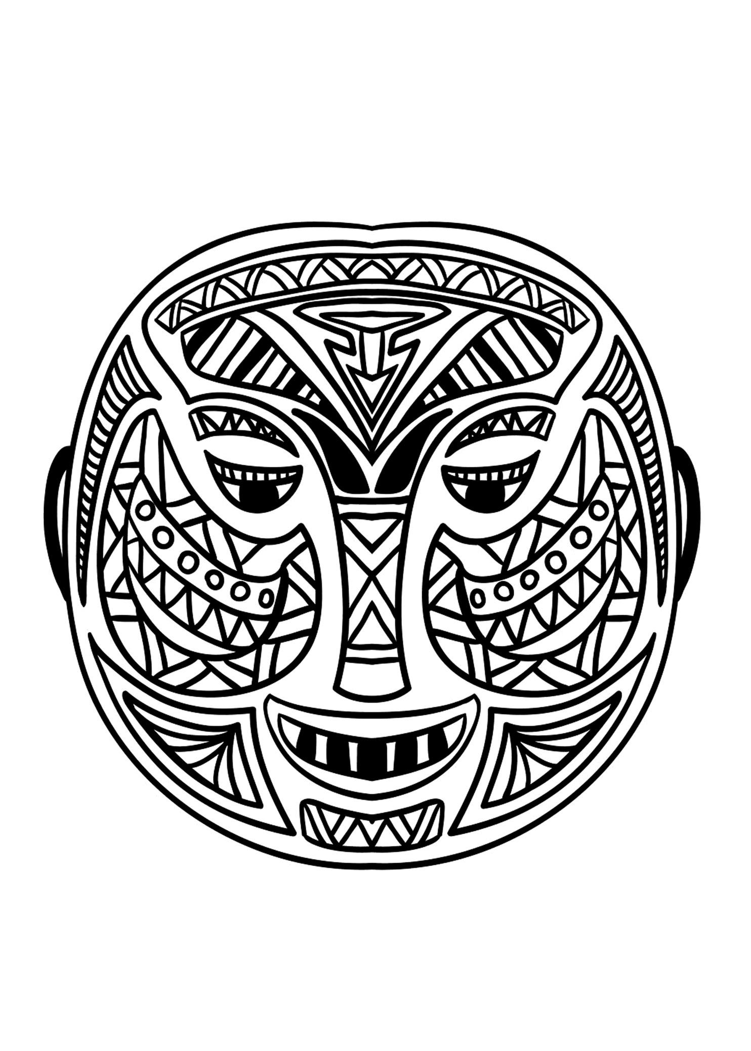 Masque africain 5 coloriage de masques coloriages pour - Masque africain a imprimer ...