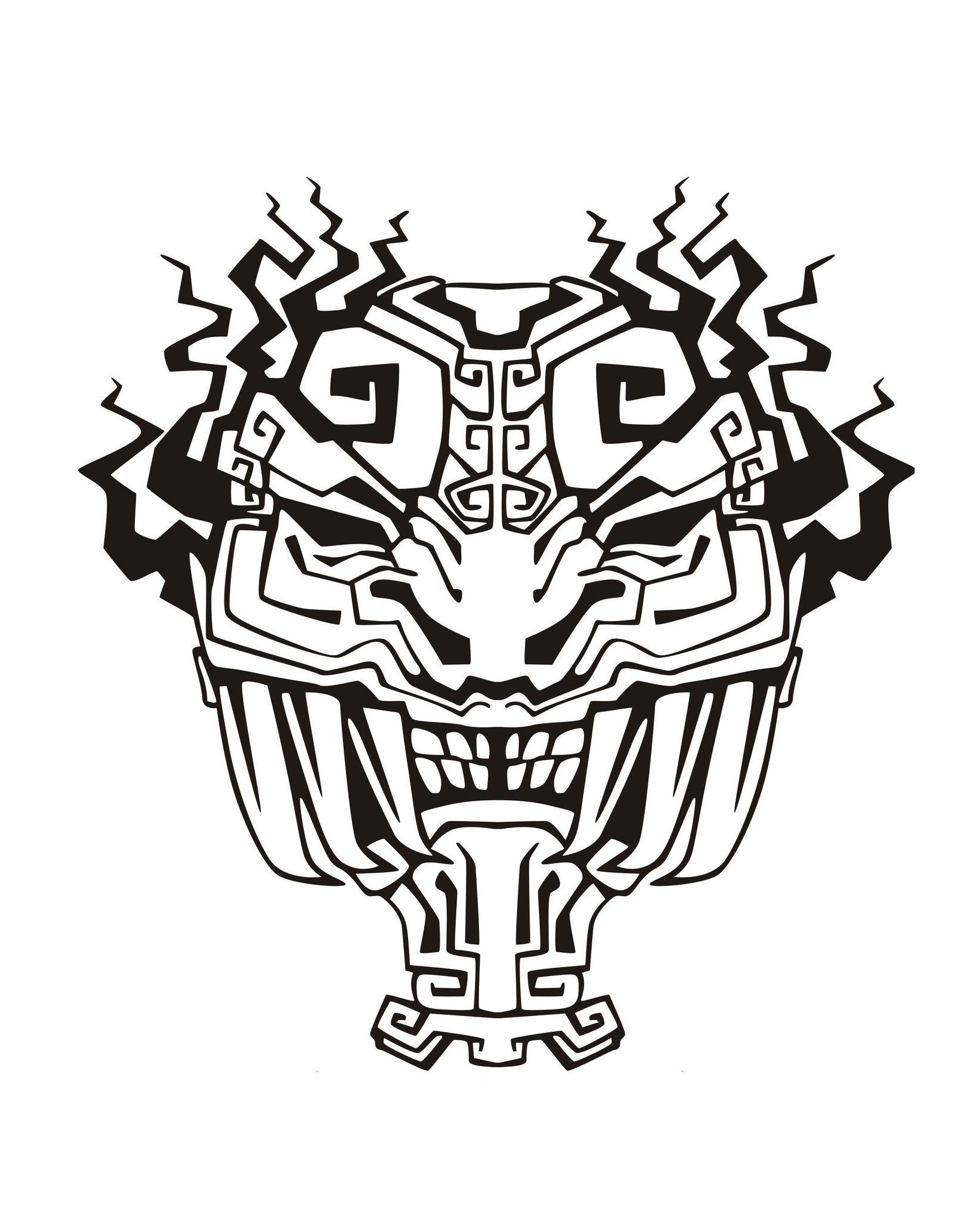 Masque inspiration inca maya azteque 4 coloriage de masques coloriages pour enfants - Coloriage masques ...