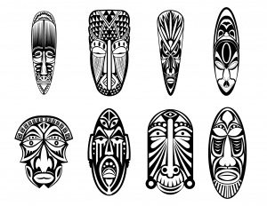 coloriage-12-masques-africains free to print