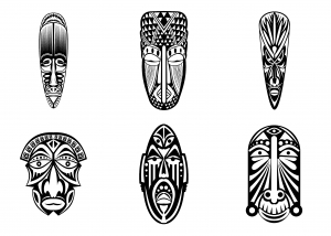 coloriage-6-masques-africains-simples