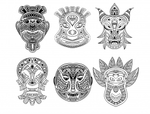 coloriage-6-masques-africains