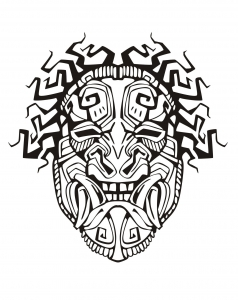 Coloriage masque inspiration inca maya azteque 1