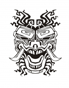 Coloriage masque inspiration inca maya azteque 2