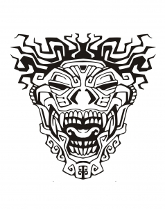 Coloriage masque inspiration inca maya azteque 3