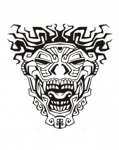 coloriage-masque-inspiration-inca-maya-azteque-3 free to print