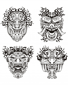 Coloriage masques inspiration inca maya azteque