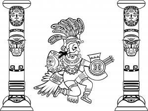 coloriage-quetzalcoatl-dieu-serpent-a-plumes-et-totems free to print