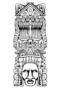 Coloriage totem inspiration inca maya azteque 1