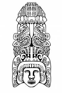 Coloriage totem inspiration inca maya azteque 2