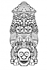 Coloriage totem inspiration inca maya azteque 3