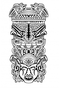 Coloriage totem inspiration inca maya azteque 4
