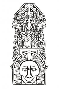 Coloriage totem inspiration inca maya azteque 5