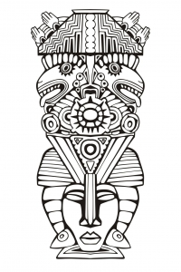 Coloriage totem inspiration inca maya azteque 6