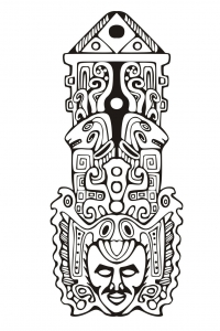 Coloriage totem inspiration inca maya azteque 7
