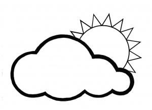 Coloriage très facile avec juste un soleil et un nuage