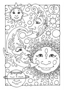 Coloriage sympa avec Lune, Soleil et étoiles